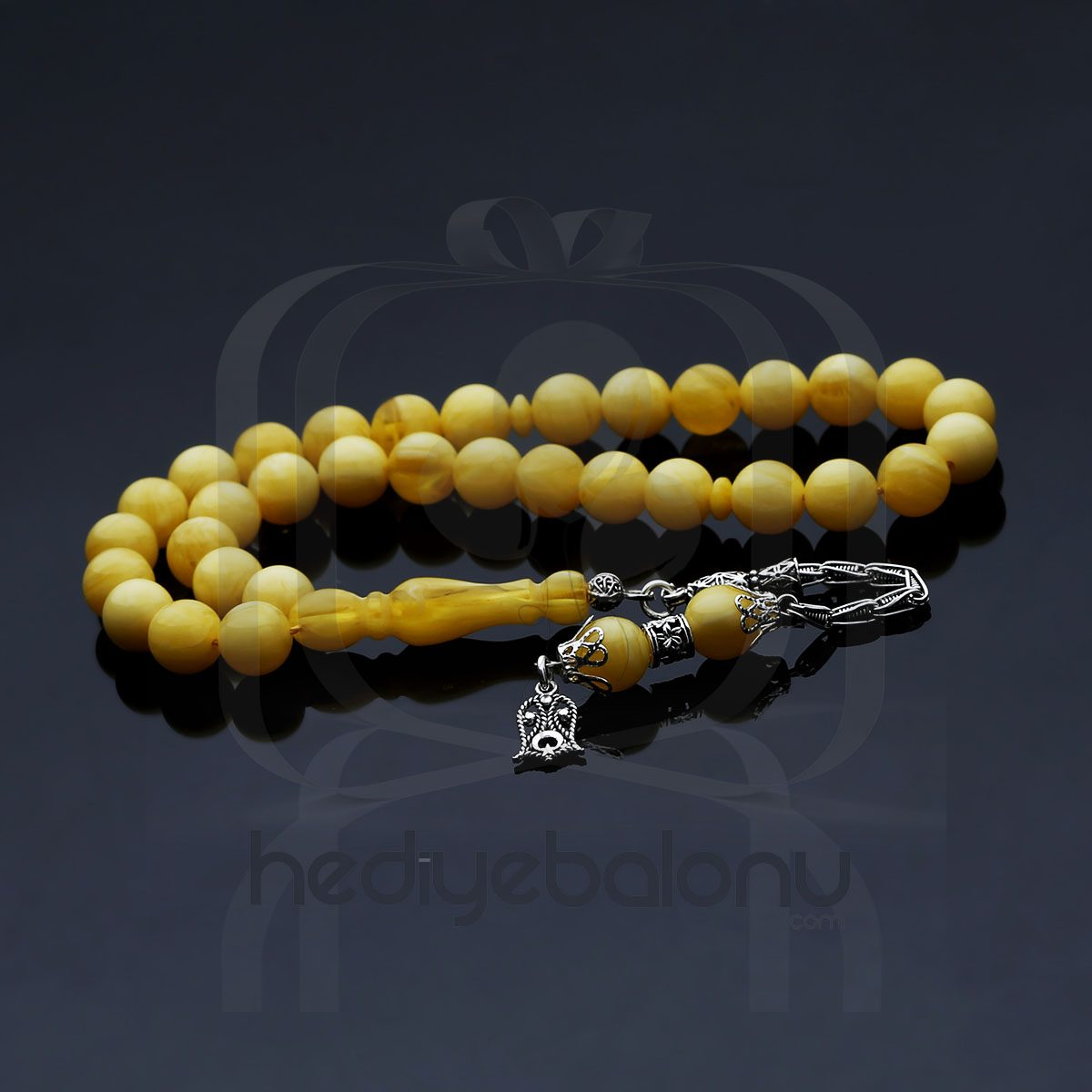 Gümüş Püsküllü Sarı Sıkma Kehribar