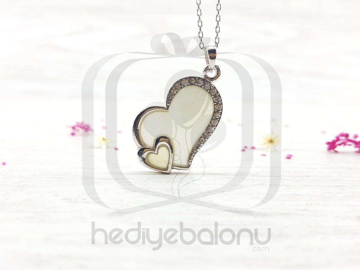 Karanlıkta Parlayan 925 Ayar Gümüş Çift Kalp Neon Kolye
