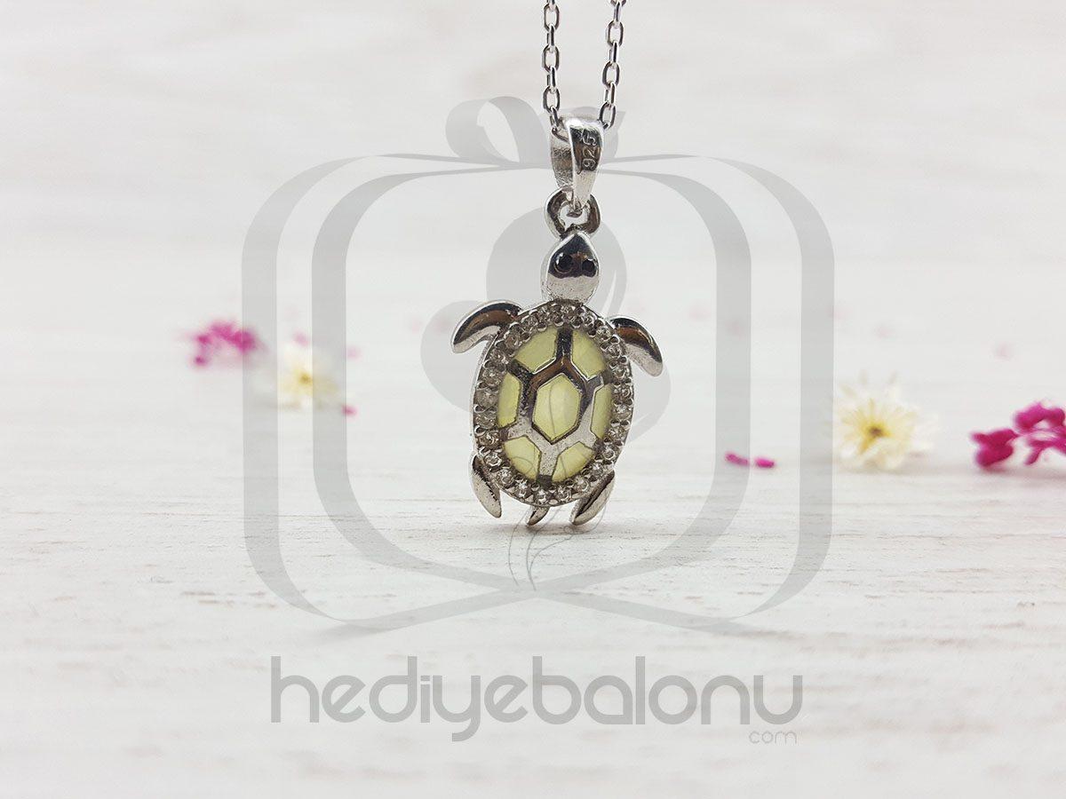 Karanlıkta Parlayan 925 Ayar Gümüş Neon Kaplumbağa Kolye