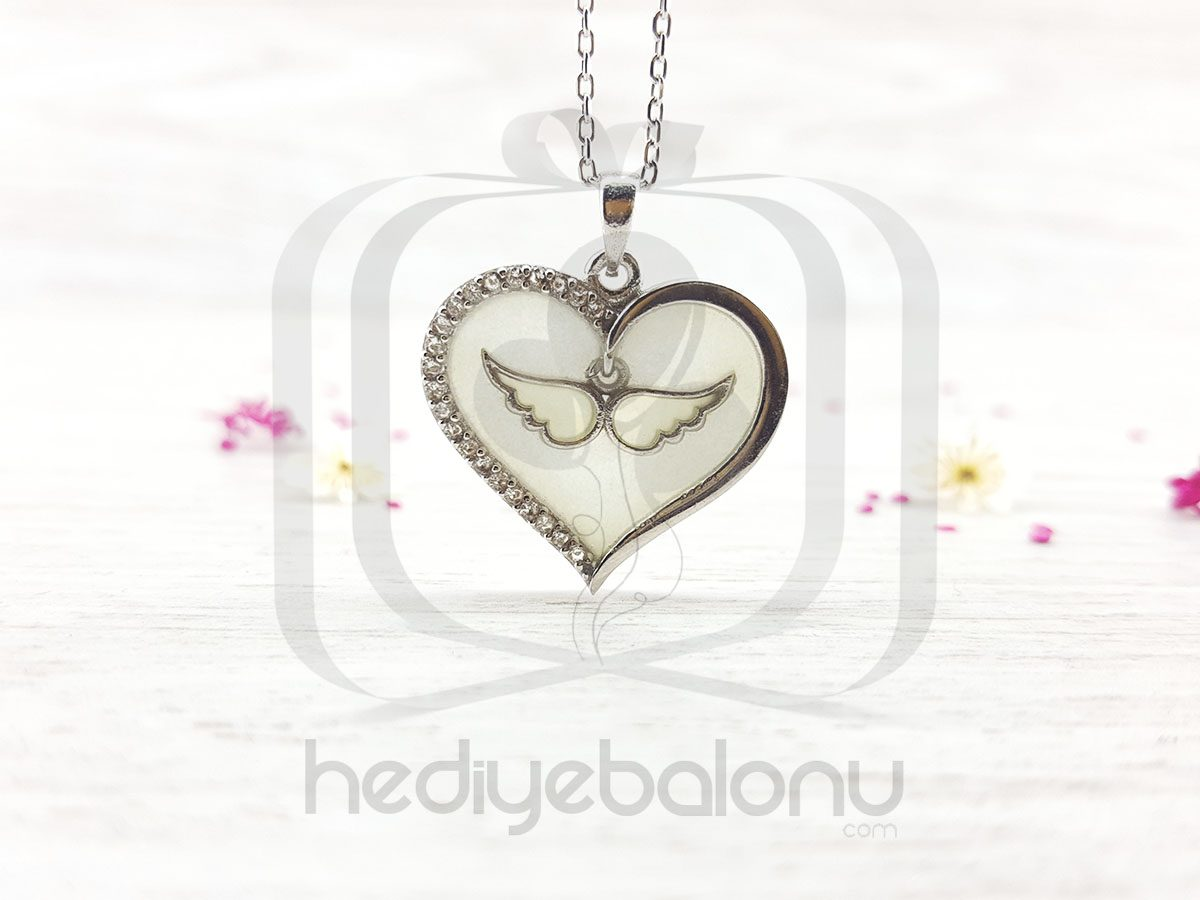 Karanlıkta Parlayan 925 Ayar Gümüş Neon Kanatlı Kalp Kolye