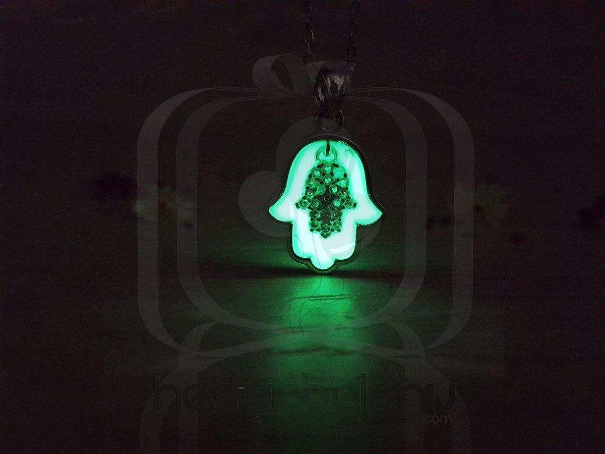 Karanlıkta Parlayan 925 Ayar Neon Fatma'nın Eli Kolye