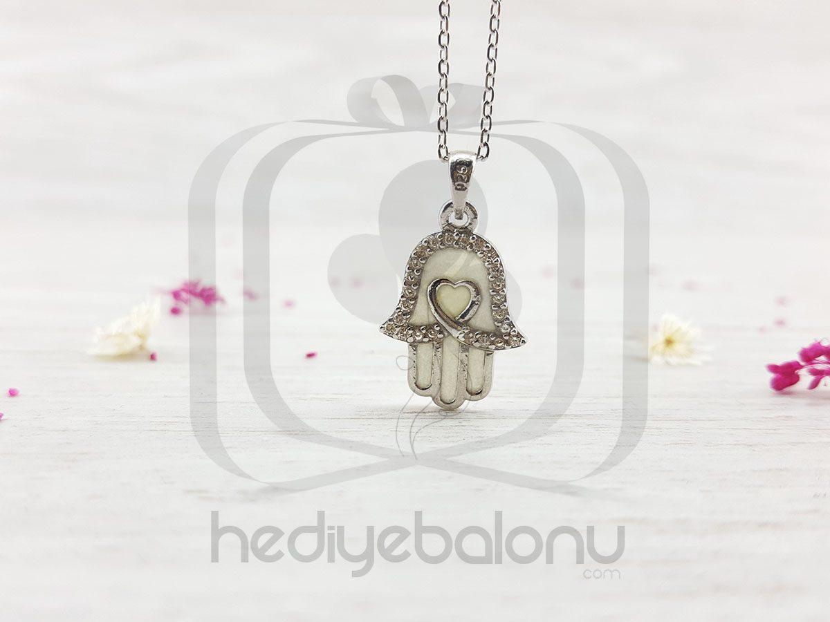 Karanlıkta Parlayan 925 Ayar Gümüş Kalpli Fatma'nın Eli Kolyesi