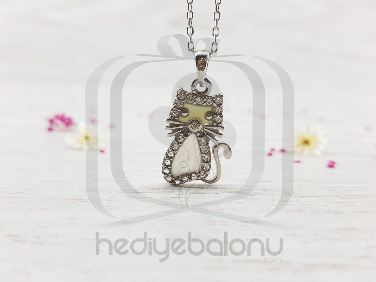Karanlıkta Parlayan 925 Ayar Gümüş Neon Sevimli Kedi Kolye