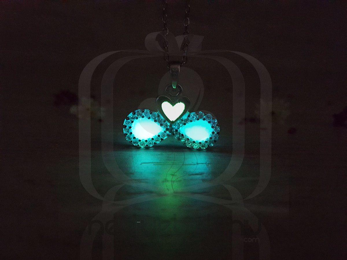 Karanlıkta Parlayan 925 Ayar Gümüş Neon Sonsuzluk Kolye