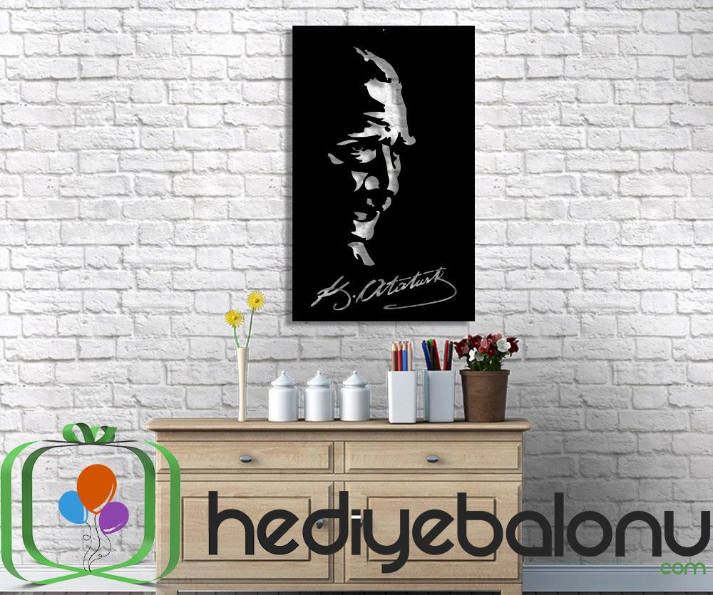 Atatürk İmzalı Ahşap Duvar Tablosu