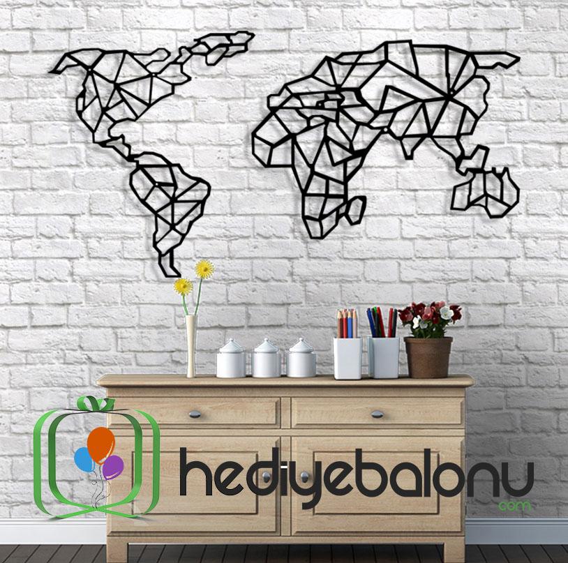 Dünya Haritası Geometrik Dekoratif Duvar Panosu