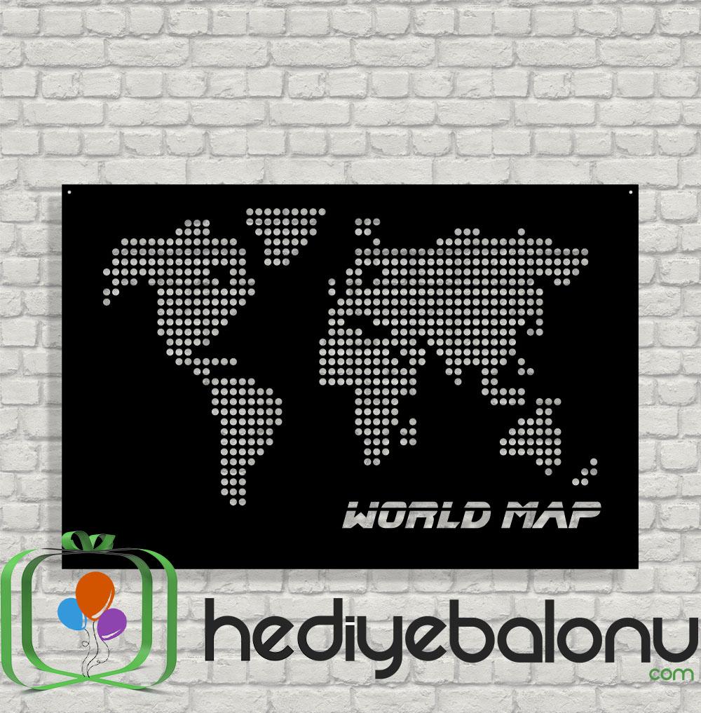 Doted World Map Ahşap Duvar Tablosu