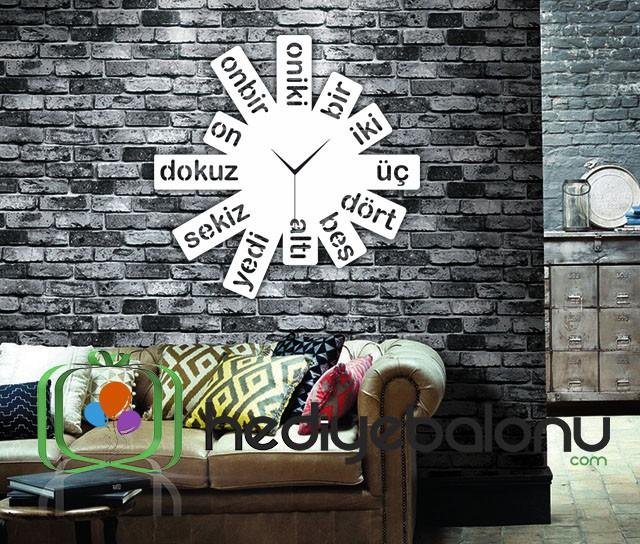 Harf Dekoratif Duvar Saati Beyaz