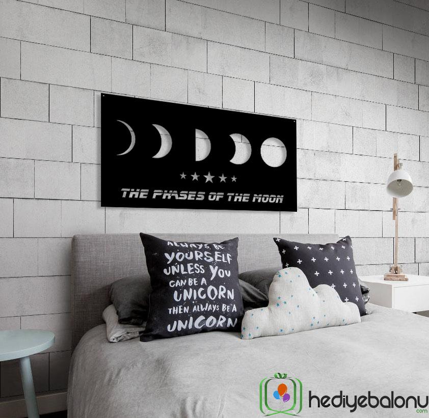 Ayın Evreleri Dekoratif Ahşap Duvar Tablosu