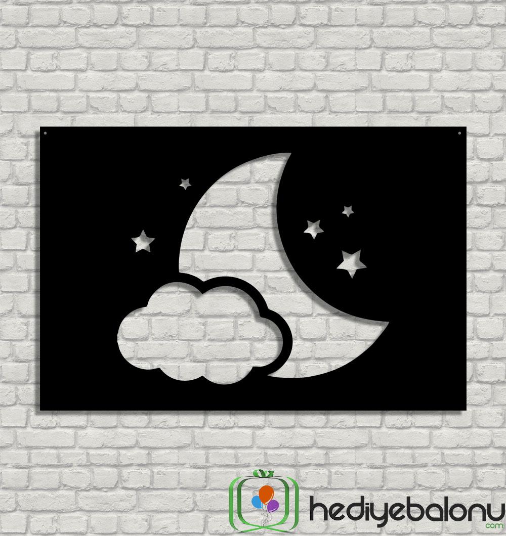 Ay ve Yıldızlar Dekoratif Ahşap Duvar Tablosu