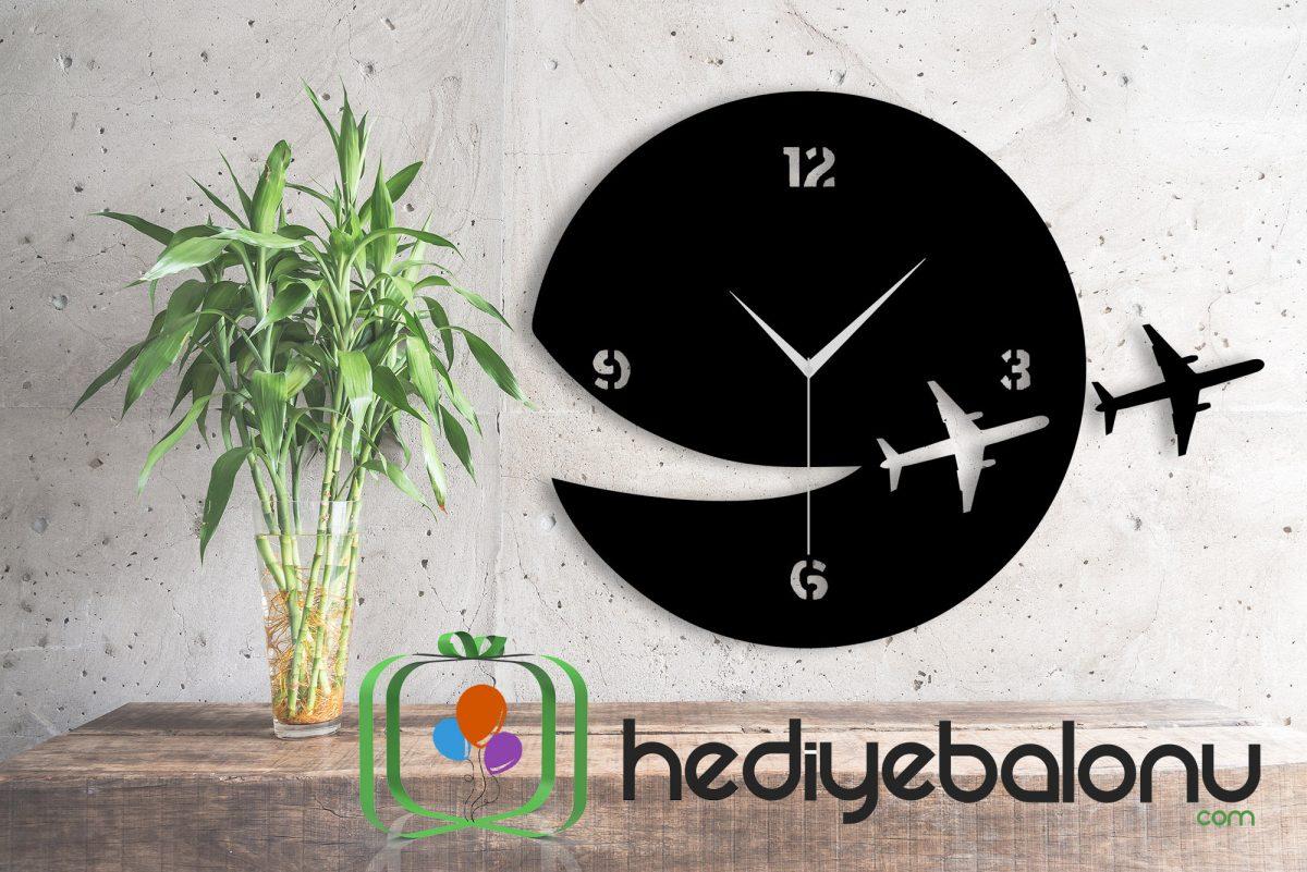 Uçak Temalı Dekoratif Duvar Saati