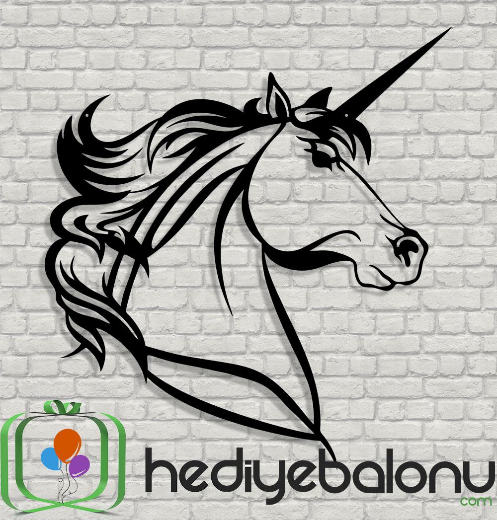 Unicorn At Dekoratif Ahşap Duvar Tablosu